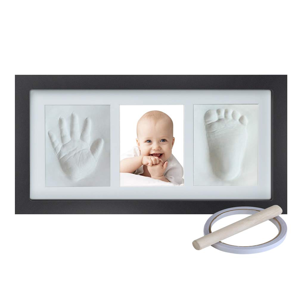 Baby Handprint Footprint Keepsake Kit, Wall Mount & Desktop Mount Decor Shower Picture Frames Gift for Newborns - Roller, Mounting Hardware and Instructions - Black