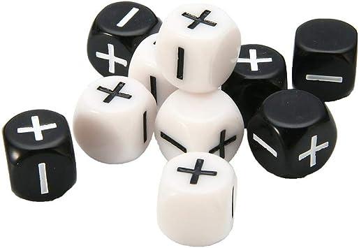 Juego De 10 Dados Matemáticos, Enseñanza Matemática Acrílica Aritmética Más Dados De Signo Menos, Juego De Matemática De Números Positivos Y Negativos En Blanco Y Negro: Amazon.es: Hogar