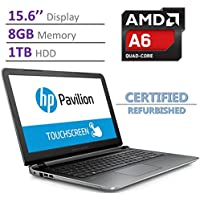 HP Pavilion 15.6-inch Touchscreen Laptop PC, AMD Quad-Core A6-6310, 8GB DDR3L RAM, 1TB HDD, SuperMulti DVD Burner, Radeon R4 Graphics, B&O PLAY, HDMI, Windows 10 SILVER (Certified Refurbished)