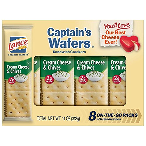 Cream Wafers (Lance Captain's Wafers Cream Cheese and Chives Sandwich Crackers, 8-Count Boxes (Pack of 14))