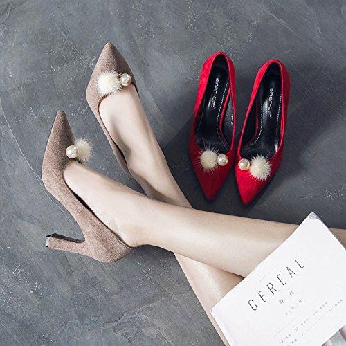 solo red zapatos de verano tacones boca zapatos con satin y la La ZHZNVX moda mujer áspero superficial altos y primavera punta sexy el UBwWpgTq