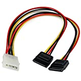 StarTech.com PYO2LP4SATA 12in LP4 to 2x SATA Power Y Cable Adapter