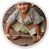 Pixels Round Beach Towel With Tassels featuring ''Hmong Boy'' by Adam Romanowicz