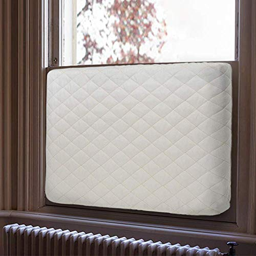 LBG Products Indoor Air Conditioner Cover,Double Insulation Beige Quilted AC Defender for Window Unit,Fits Most 5000-8000BTU Units(M)