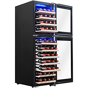 AKDY 53 Bottles Dual Zone Touch Panel Control Electric Wine Cooler w/ Compressor Function