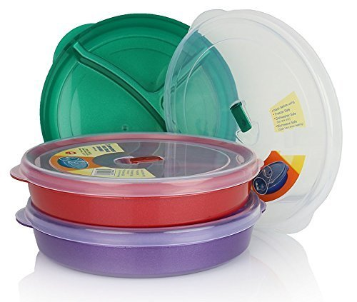 - (Set of 3) Chef's 1st Choice Microwave Food Storage Tray Containers - 3 Section / Compartment Divided Plates w/ Vented Lid