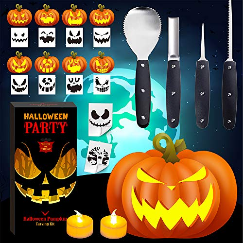 EPLST Halloween Pumpkin Carving Kit, 4 Pieces Heavy Duty Professional Stainless Steel Carving Tools Set for Halloween Decorations, Included 2 LED Candles & 10 Carving Stencils, Easily Sculpting-Black