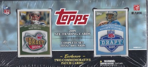 2009 Topps Football Card Factory Sealed Complete Set with Commemorative Patch Cards of Tom Brady and Sam Bradford Exclusive to This Set