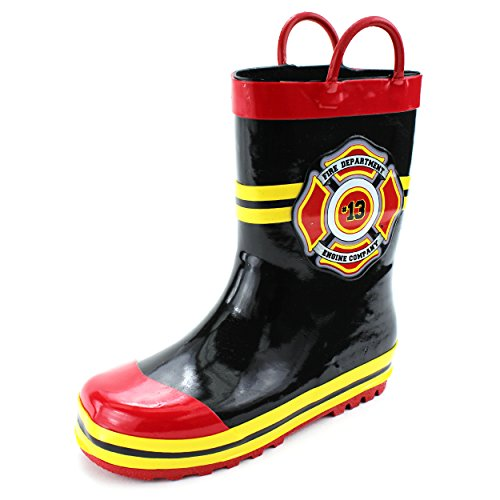 Boys Fire Chief Costume (Fireman Kids Firefighter Costume Style Rain Boots (11/12 M US Little Kid, Fire Dept Black))