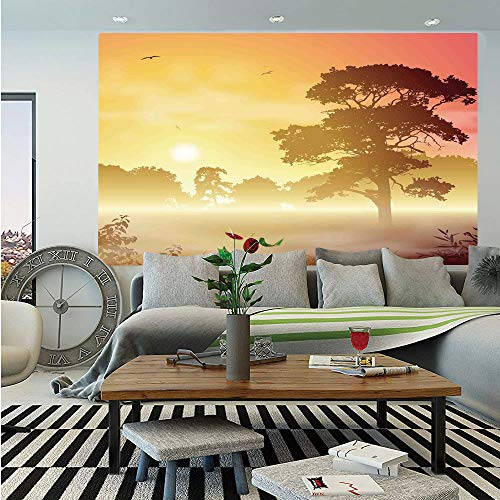 SoSung Tree Wall Mural,Majestic Old Big Tree Landscape in Intense Sun Beams Woodland Magical Scenery,Self-Adhesive Large Wallpaper for Home Decor 55x78 inches,Red Yellow Brown ()