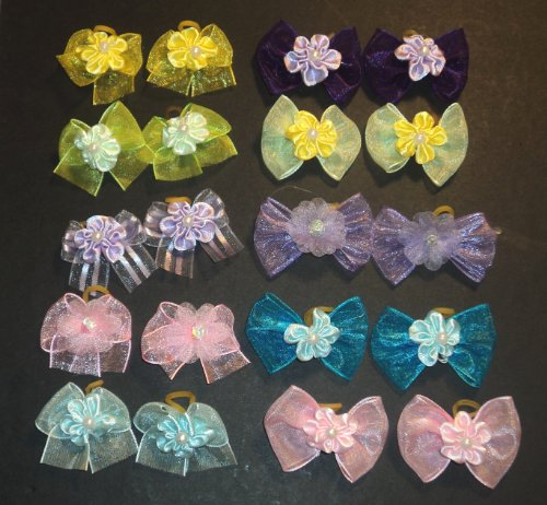 30 Dog Hair Bows Easter Collection- Pink/Yellow/Blue/Gree...