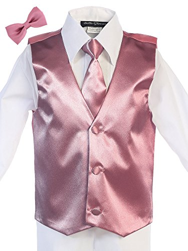 Bello Giovane Men's Satin Hand Made Long Tie & Vest Set (L-XL) (Free Bow Tie) (X Large, Dusty Rose)