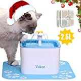 Veken Pet Fountain - 84Oz 2.5L Automatic Cat Water Fountain Dog Water Dispenser With 3 Replacement Filters & 1 Silicone Mat For Cats - Dogs - Multiple Pets - Blue
