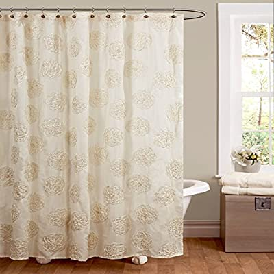 "Lush Decor Samantha Shower Curtain, 72"" x 72"", Ivory - Dimensions: 72L x 72W in. Made from 100% polyester Dry clean only - shower-curtains, bathroom-linens, bathroom - 5110XZoVlgL. SS400  -"