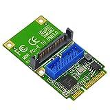 Riser Card, Mini PCI-E to USB3.0 Expansion Card, Mini PCI-e to USB3.0 Front PIN Header 19/20PIN Adapter USB Expansion Card Hi-Speed Converter