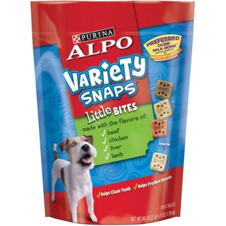 Purina ALPO Variety Snaps Little Bites Dog Treats with Beef, Chicken, Liver & Lamb Flavors 60 oz. Pouch -