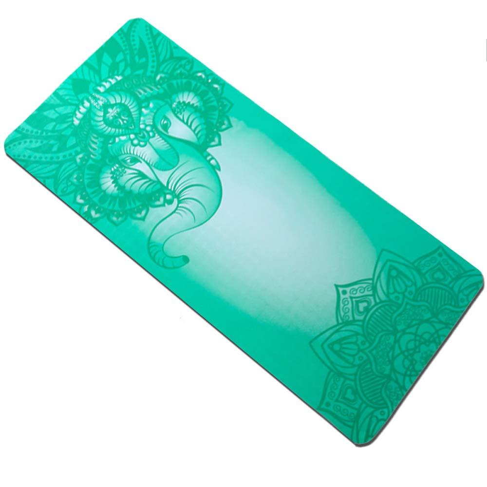 ヨガマット - 初心者ノンスリップフィットネスヨガピラティスマルチファンクションポータブルヨガマットマタニティ[厚さ:6mm] B07JMRYZGK Two - color elephant - green Two - color elephant - green