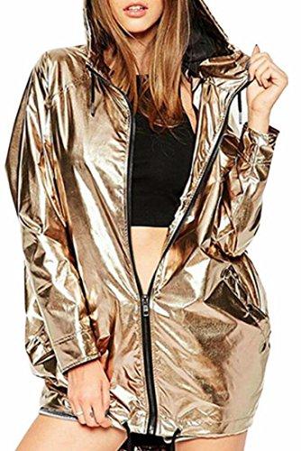 today-UK Women Fashion Metallic Shiny Hooded Full Zipper Sweatshirt golden