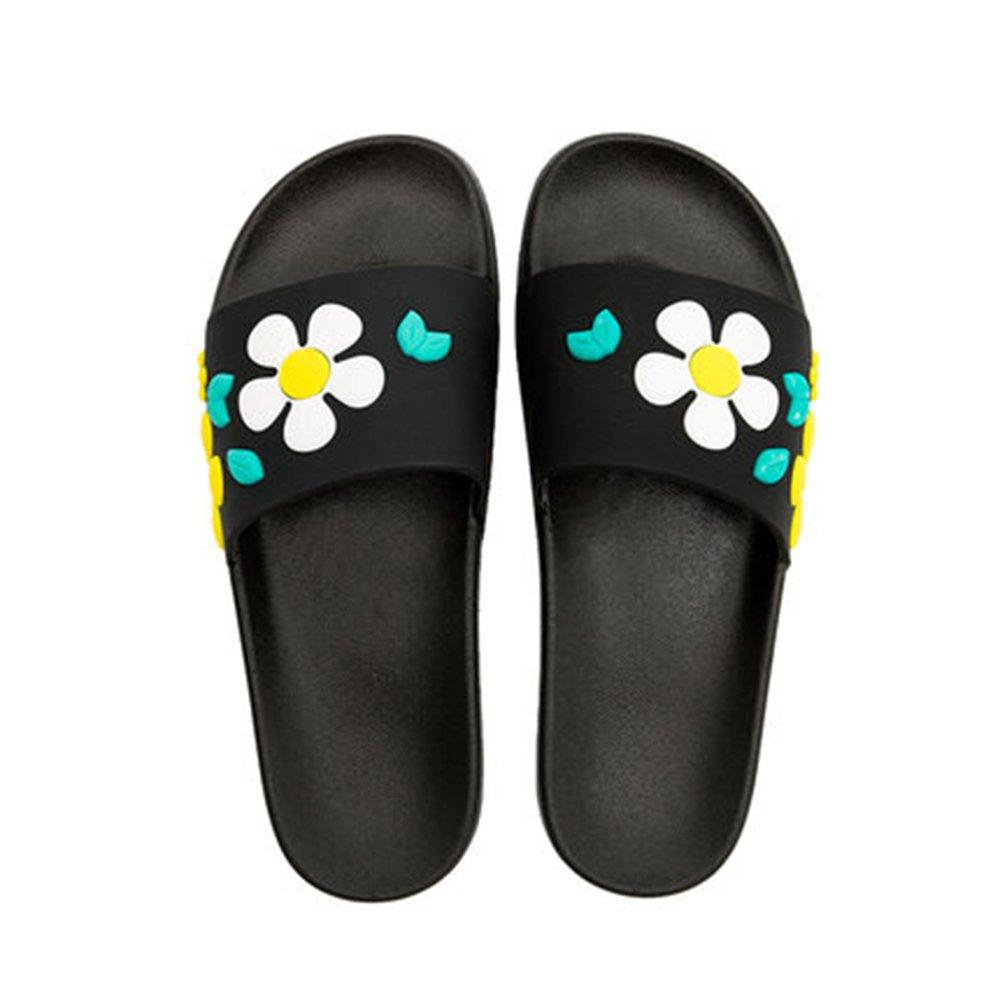 ZZHF Zapatillas Antideslizantes Cómodas del Baño del hogar de la Manera del Verano Femenino Hogar Plano Plano con los Deslizadores Frescos caseros (2 Colores Opcionales) (Tamaño Opcional) Zapatillas