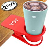 YOY 2 Piece Home Office Table Desk Side Huge Clip Water Drink Beverage Soda Coffee Mug Holder Cup Saucer Clip Design, Red