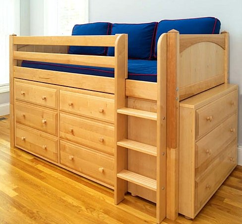 amazoncom twin low loft bed in natural finish with six three drawer dressers underneath kitchen dining - Loft Twin Bed Frame