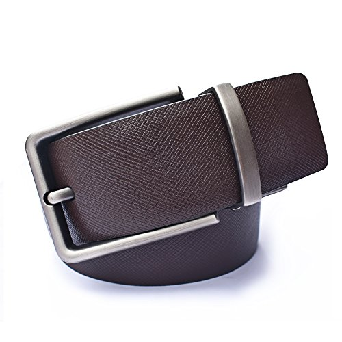 Men's Leather Belts Reversible with Removable Buckle Black and Brown (Soft Leather Buckle Belt)