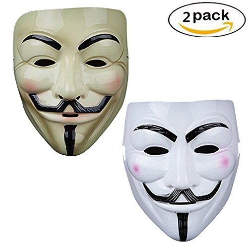 Vendetta Mask Guy V Like Hacker Mask Bundled With Sticker For Fancy Cosplay Costume Set of 2 (Styel A)