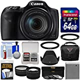 Canon PowerShot SX540 HS Wi-Fi Digital Camera with 64GB Card + Case + Battery + 3 Filters + Hood + Tele/Wide Lens Kit