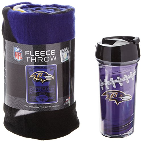 Officially Licensed NFL Baltimore Ravens Printed Fleece Throw Blanket and 16-ounce Travel Mug (Throw Ravens Baltimore)