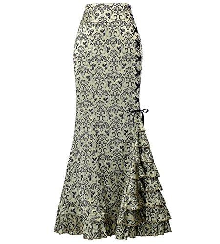 Steampunk Girl Costumes (Steampunk Victorian Skirt Gothic Punk Clothing Renaissance Costume Light Green Size 12)