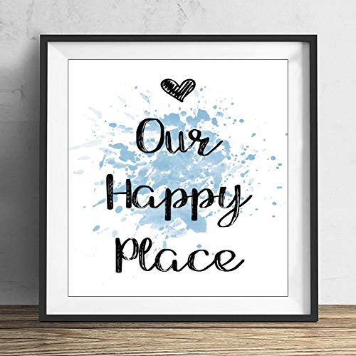 19 saijhii Blue Love Heart Our Happy Place Quote Wall Art Print Poster Picture Gift Present 12x12in ()