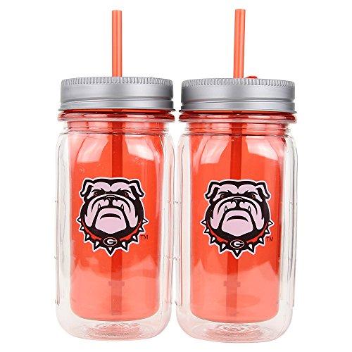 "Cool Gear NCAA 16 oz ""Mason Jar"" Travel Mug (2 Pack) (Georgia Bulldogs)"