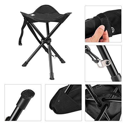 Enkeeo Portable Tripod Stool Folding Chair With Carrying