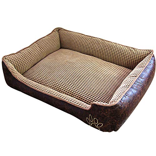 Brown L Brown L Cookisn Waterproof Leather Dog Bed Washable PP Cotton Padded Pet Puppy Cushion for Large Dogs Brown L