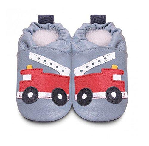 Pantofole in pelle pompiere per bambino–bivouvou Kadolis ShooShoos–obbb40s