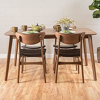 Adelade Dark Brown Leather/Natural Walnut Finish Curved Leg Rectangular 5 Piece Mid Century Modern Dining Set - Includes: One (1) Table and Four (4) Chairs - kitchen-dining-room-furniture, kitchen-dining-room, dining-sets - 5110ZtsJkJL. SS400  -