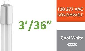 TOGGLED E312-40310 3 ft. (E-Series) Direct-Wire LED Tube, 4000K (Cool White)