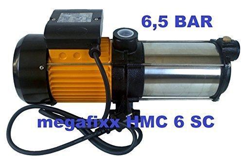 Mehrstufige Kreiselpumpe megafixx HMC6SC 1350 Watt bis 6,5 BAR - 6 Stufen - Laufräder aus Edelstahl
