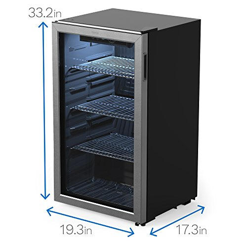 Homelabs Beverage Fridge And Cooler Mini Fridge With Glass Door For Soda Beer Or Wine 120 Cans Capability Small Drink Dispenser Machine For