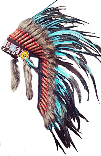 Medium Turquoise Rooster Feather Headdress | Native American Indian Inspired