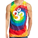 Yoga Clothing For You Mens Distressed Om Tie Dye Tank Top