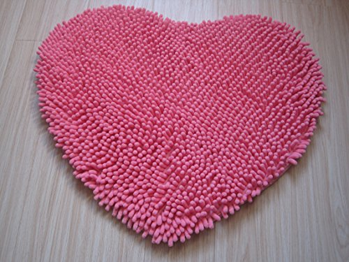 (Hughapy Super Soft Lovely Heart Love Shaped Area Rug,Anti-Skid Chenille Door Mat Carpet for Home Bedroom 50cm60cm with 10 Colors,Pink)
