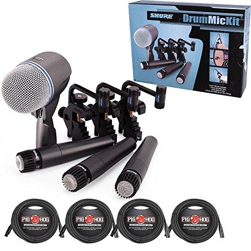 - Shure DMK57-52 Drum Microphone Kit + (4) XLR Cables Bundle (8 items)