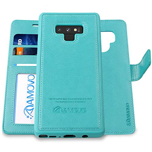 AMOVO Case for Galaxy Note 9 [2 in 1] Samsung Galaxy Note 9 Wallet Case [Detachable Folio] [Vegan Leather] [Wrist Strap] [Card Slot] [Kickstand] Note 9 Flip Case with Gift Box Package (Note 9, Aqua)