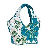 Olive N Figs Turquoise Blue Hawaiin Floral Sequined Jute Handbag/Tote