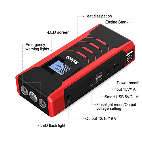 Motenik 800A Peak 15000mAh Portable Car Jump Starter with Emergency Light (Up to 7L Gas or 5.5L Diesel Engines) 5 Modes Car Jump Starter Auto Battery Booster Dual USB Power Bank Updated Version by Motenik (Image #5)