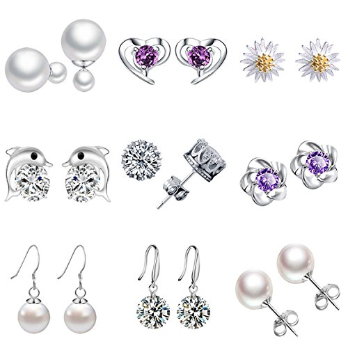 9 Pairs Silver Plated Zircon Crown Flower Pearl Stud Earrings Set with 316L Stainless-steel (Silver Zircon Earrings)