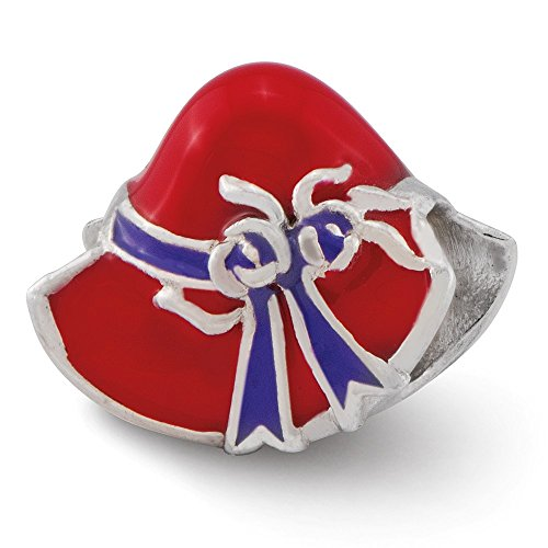 925 Sterling Silver Charm For Bracelet Enameled Red Hat Society Bead Personal Career Hobby Fine Jewelry Gifts For Women For Her