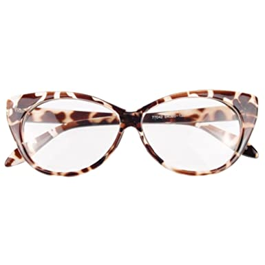 34ecba1795 Funie Women Classic Sexy Vintage Cat-Eye Shape Plastic Plain Eye Glasses  Frame Eyewear (