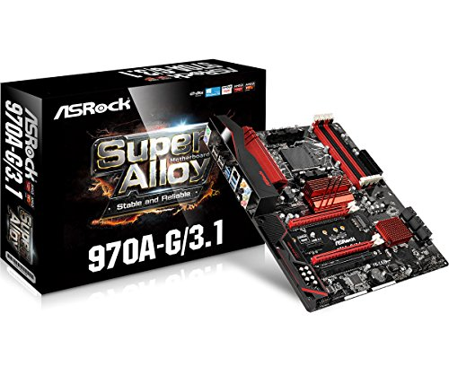 (ASRock 970A-G/3.1 Socket AM3+/ AMD 970/ DDR3/ Quad CrossFireX/ SATA3&USB3.1/ M.2/ A&GbE/ ATX Motherboard)